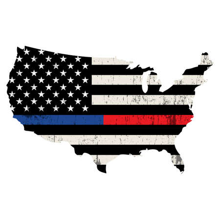 An outline of USA containing a police anf firefighter support flag illustration. Vector EPS 10 available.