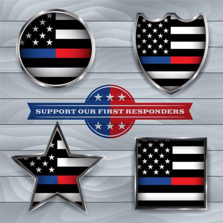 Un conjunto de ilustración de emblemas e insignias de policía y bombero. Vector EPS 10 disponible. Ilustración de vector