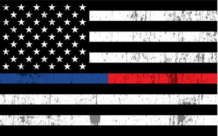Un drapeau américain avec des rayures de police et de pompier en arrière-plan. Vecteur EPS 10 disponible.