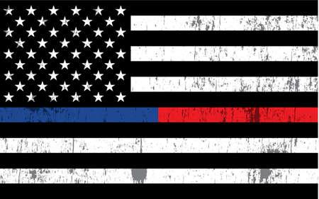 Una bandera estadounidense con rayas de policía y bombero en el fondo. Vector EPS 10 disponible.