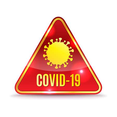 A COVID-19 alert icon illustration. Çizim