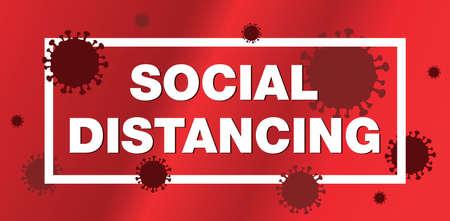 A coronavirus covid-19 social distancing illustration.