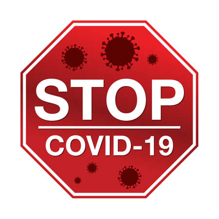 A stop sign with the message stop COVID-19 illustration.