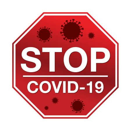 Ein Stoppschild mit der Nachricht Stopp COVID-19 Illustration.