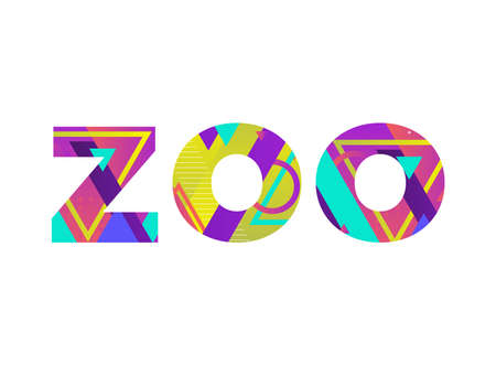 The word ZOO concept written in colorful retro shapes and colors illustration.