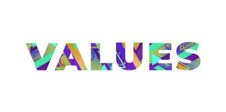 The word VALUES concept written in colorful retro shapes and colors illustration.