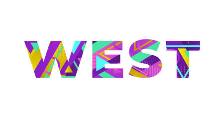 The word WEST concept written in colorful retro shapes and colors illustration. 矢量图像