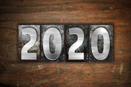 The year 2020 written in old vintage letterpress type.