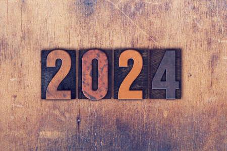 The year 2024 written in old vintage letterpress type.