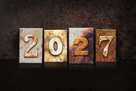 The year 2027 written in old vintage letterpress type.