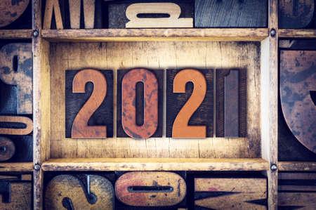 The year 2021 written in old vintage letterpress type.