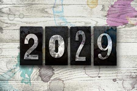The year 2029 written in old vintage letterpress type.