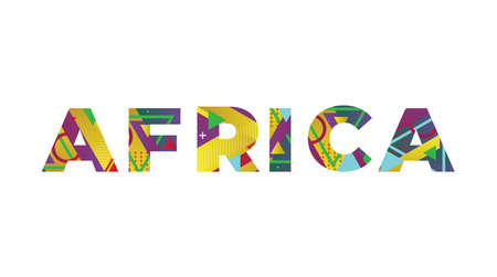 The word AFRICA concept written in colorful retro shapes and colors illustration.