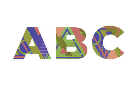 The word ABC concept written in colorful retro shapes and colors illustration.