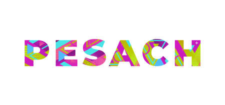The word PESACH concept written in colorful retro shapes and colors illustration. 免版税图像