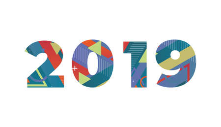The word 2019 concept written in colorful retro shapes and colors illustration.