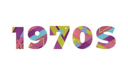 The word 1970s concept written in colorful retro shapes and colors illustration.