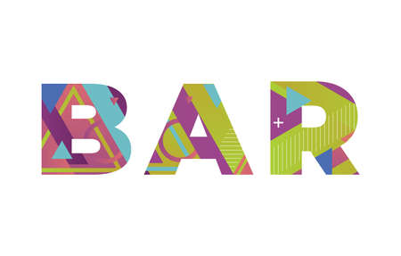 The word BAR concept written in colorful retro shapes and colors illustration. 免版税图像