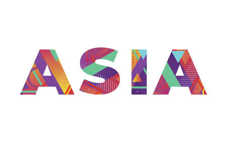 The word ASIA concept written in colorful retro shapes and colors illustration.