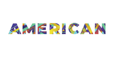 The word AMERICAN concept written in colorful retro shapes and colors illustration. 免版税图像