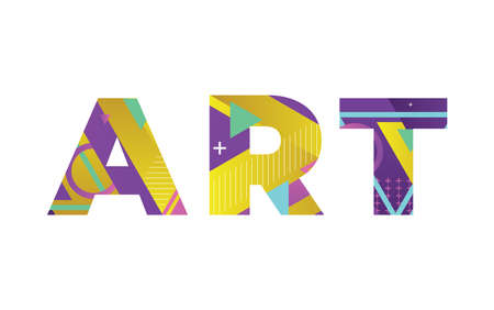 The word ART concept written in colorful retro shapes and colors illustration.