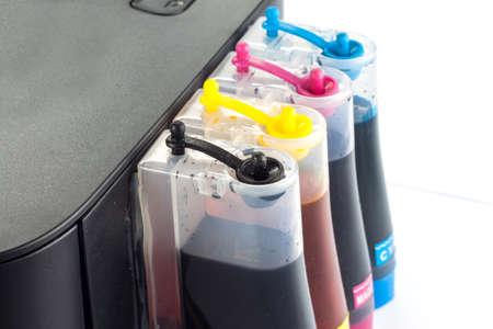 inkjet printer: colour tank on inkjet printer Stock Photo