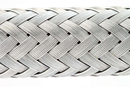 metal wire: macro image of a metal wire braided reinforced hose