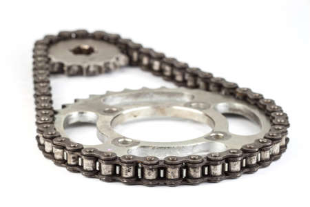Roller chains with sprockets for motorcycles on white background Imagens
