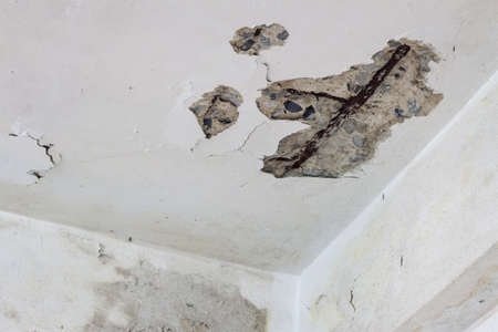 foundation cracks: old house ceiling is crack see the structure Stock Photo
