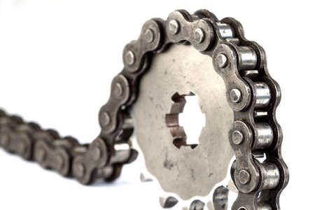 sprockets: Roller chains with sprockets for motorcycles on white background Stock Photo