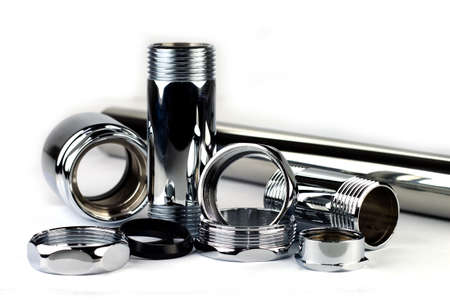 tube top: Chrome tube with a screw top and bottom. Stock Photo