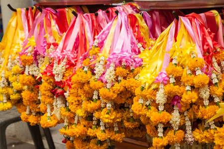 spiritualism: Thai garland colorful flower for worship priest Stock Photo