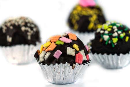 cake balls: Chocolate Cake Balls on a white background Stock Photo