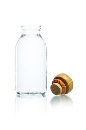 closed corks: empty bottle and wood bottle cork on a white background Stock Photo