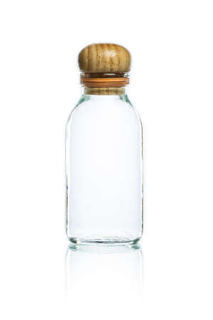 closed corks: empty glass bottle and wood bottle cork on a white background Stock Photo