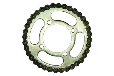 metal parts: Roller chains with sprockets for motorcycles on white background Stock Photo