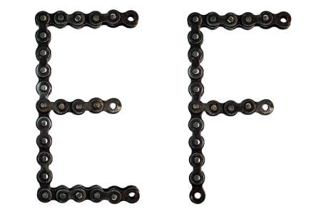 chain of font, E and F isolated on white background Imagens