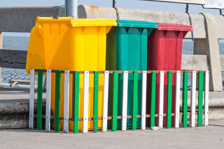 discard: Colored Bins For Collection Of Recycle Materials