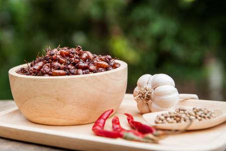 subterranean: subterranean ants in wood bowl, local cuisine of thai