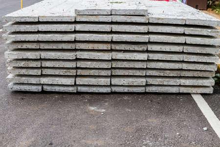 prefab: Stack of precast cement slab floor concrete slab Stock Photo