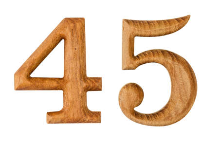 Number 4 and 5. made from wood isolated on white background with clipping path