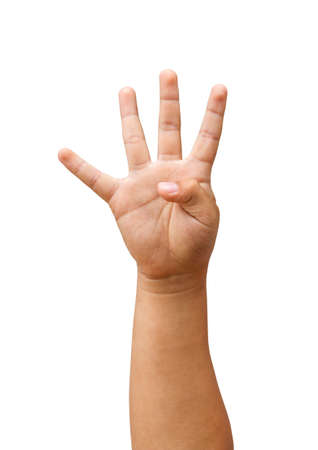 Child hand showing the four fingers, number four  isolated on a white background