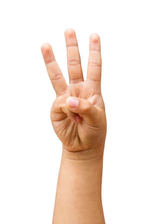 children hands show the number three isolated on a white background with clipping path