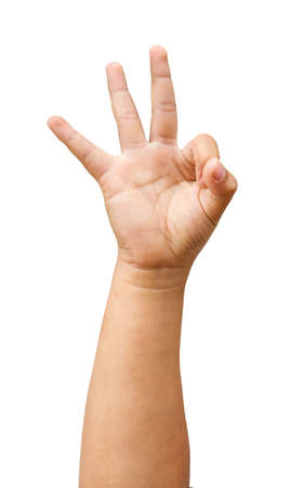 children hands show the number three isolated on a white background with clipping path Stock Photo