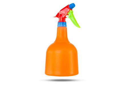 colorful of plastic hand spray bottle isolated on white