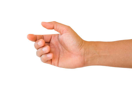 main de l'homme pour tenir quelque chose isolé sur fond blanc