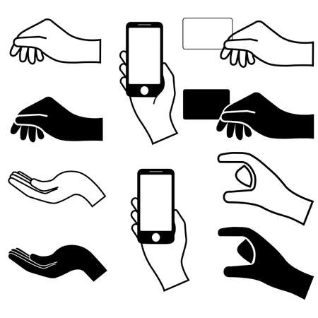 grab: Set of hands silhouette. vector illustration