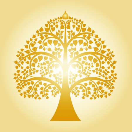 golden bodhi tree. tree of thai tradition, vector illustration Vectores