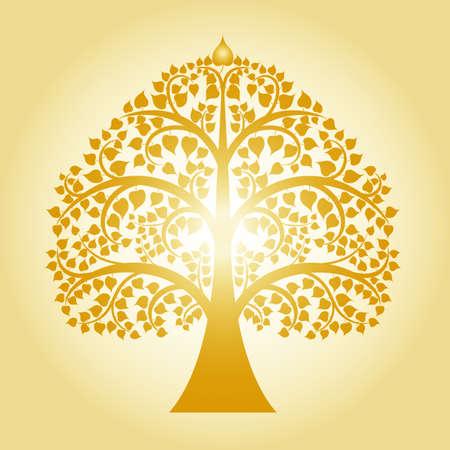 黄金の菩提樹。タイの伝統、ベクトル図のツリー