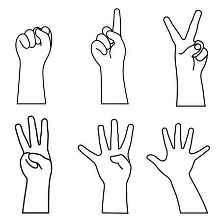 Childs hands many gesturing. vector illustration